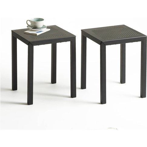 Choe Perforated Metal Stools (Set Of 2)