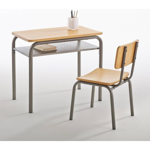 Buton Vintage Wood & Metal School Desk And Chair