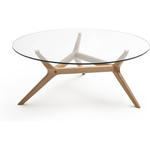 MARICIELO Glass and Oak Coffee Table
