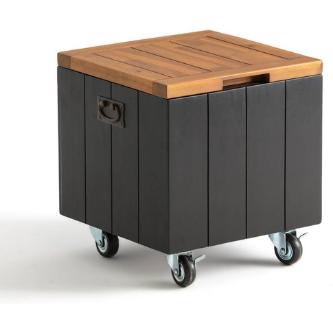Chesnut Acacia Outdoor Storage Box On Wheels With Lid