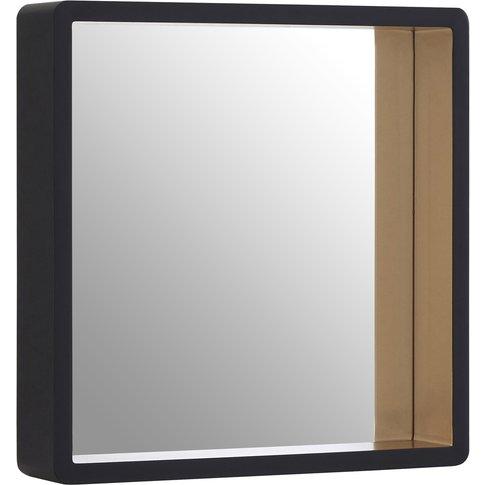 Black Wall Mirror, Gold Edge, Medium