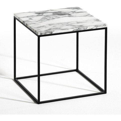 Mahaut Black Metal And Marble Side Table