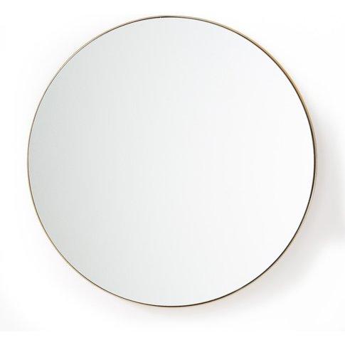 Iodus Round Mirror With Brass Frame, 90cm