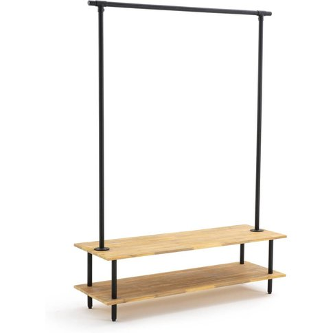 KOLYMA Industrial Style Acacia & Metal Coat & Shoe Rack