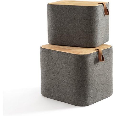 AZAD Wood & Fabric Storage Boxes (Set of 2)