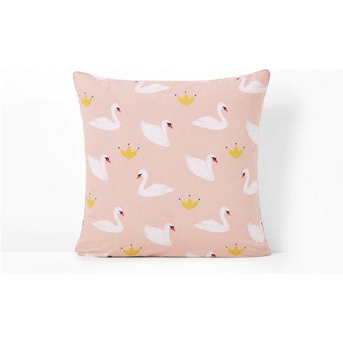 Blanche Swan Printed Cotton Pillowcase