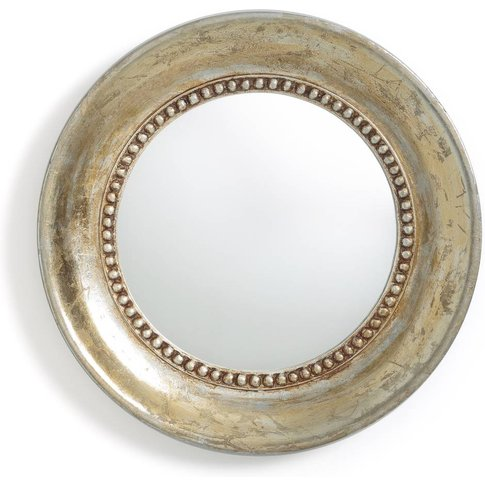 Afsan Aged Effect Gold Painted Round Mirror