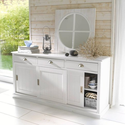 Inqaluit Solid Pine Sideboard With 3 Cupboards & 3 D...
