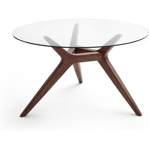 Maricielo Glass/Walnut Dining Table