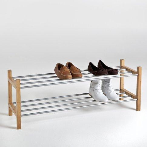 Bamboo 2 Shelf, 12 Pair Shoe Rack