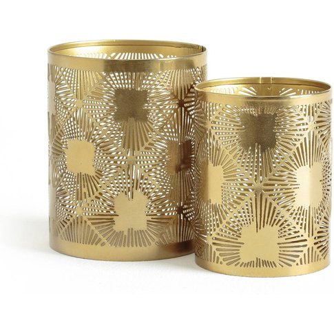 Set Of 2 Metal Tealight Candle Holders