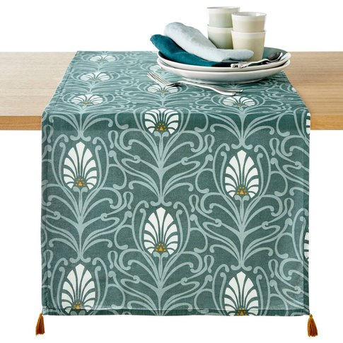 Mansfield Printed Table Runner in Washed Cotton