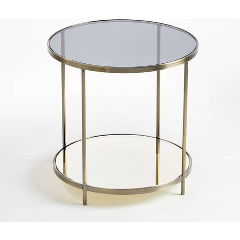 Ulupna Two-Tier Side Table In Brass & Glass
