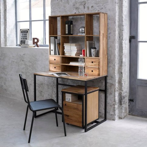 Hiba Metal And Walnut Storage Desk & Extension
