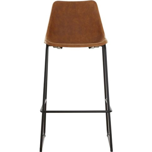 Bar Stool In Vintage Camel Faux Leather With Black Legs