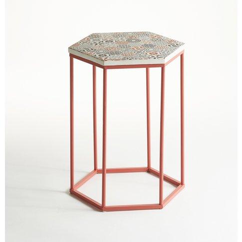 TOPIM Hexagonal Metal Side Table with Ceramic Mosaic...