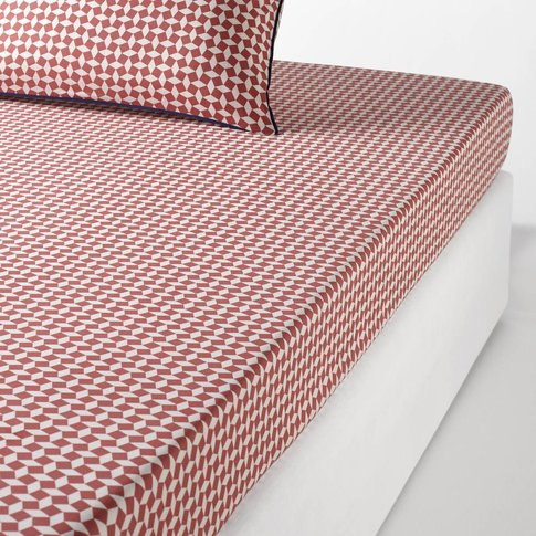 Pink Tie Print Plain Cotton Percale Fitted Sheet