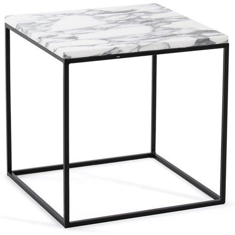 Mahaut Side Table In Marble & Black Metal