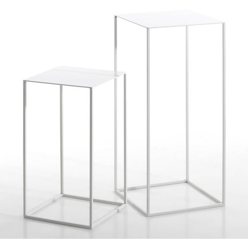 Set Of 2 Romy Lacquered Metal Side Tables