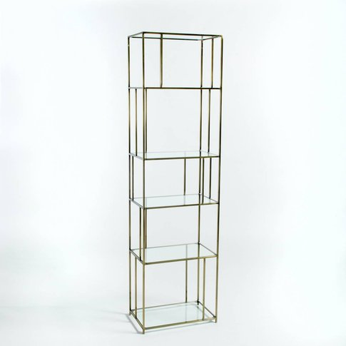 Parallel Glass and Metal Bookcase