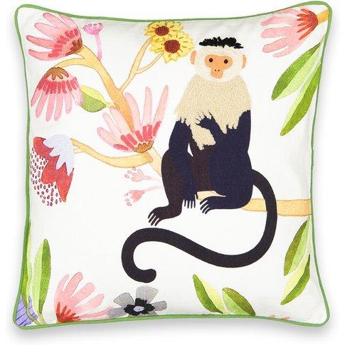 Monkey Animal-Print Cotton Cushion Cover