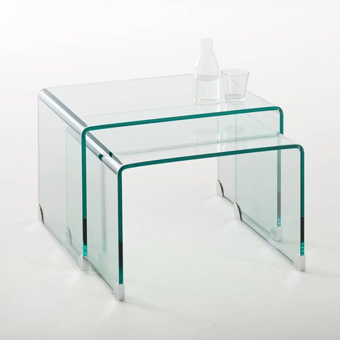 Joan Set Of 2 Glass Nesting Coffee Tables