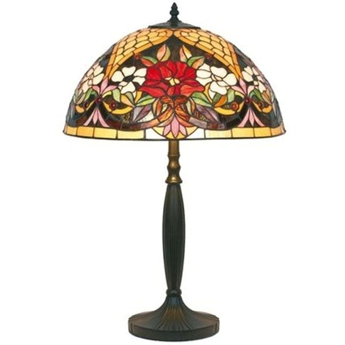 Table Lamp With A Floral Pattern, Tiffany-Style