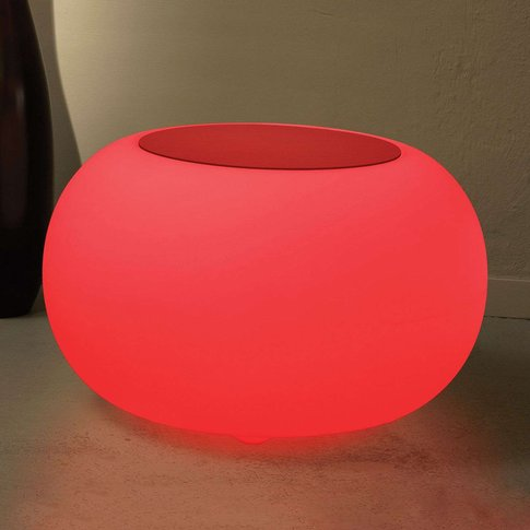 Bubble LED BATTERY Outdoor Table - red felt cover