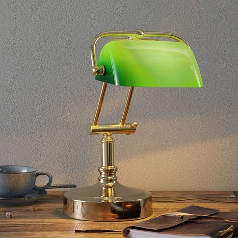 Banker'S Lamp Steve With Green Lampshade