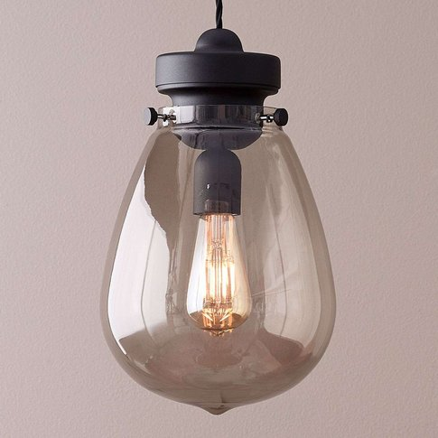 Dolores Glass Pendant Lamp Black, Smoked Glass