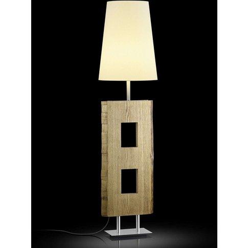 Lena Floor Lamp, Wood, 160 Cm Champagne Lampshade