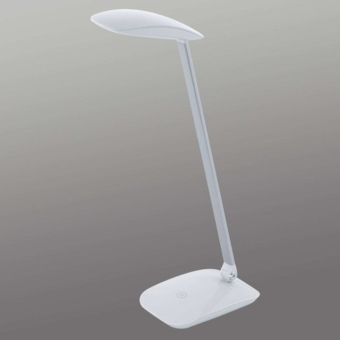 White Cajero Led Desk Lamp With Dimmer