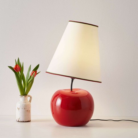 Textile Table Lamp L187 Rss, Ceramic Base Apple
