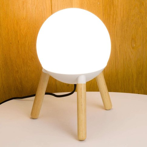 Three-Legged Mine Table Lamp With White Metal Part