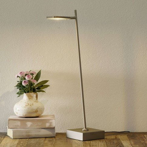 Block Led Table Lamp, Dimmable, Steel-Coloured