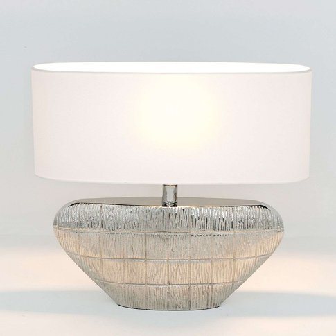 Cleopatra Oval Table Lamp With A Fabric Lampshade