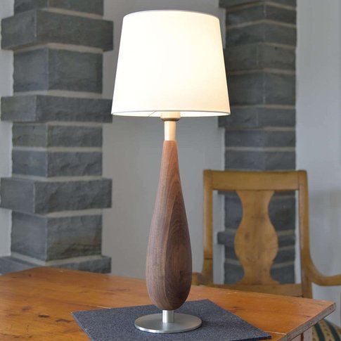 Table Lamp Lara Wooden Base Fabric Lampshade 61 Cm