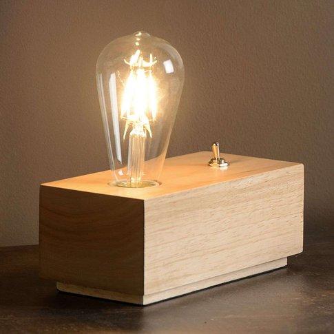 Block-Shaped Led Table Lamp Edison Made Of Wood