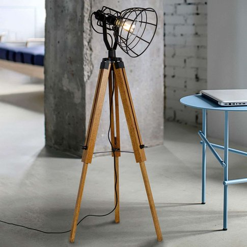 Joshua Wooden Floor Lamp, Black Lampshade