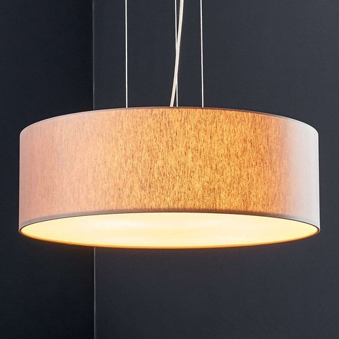 Led Pendant Light Gala, 50 Cm, Taupe Chintz Shade