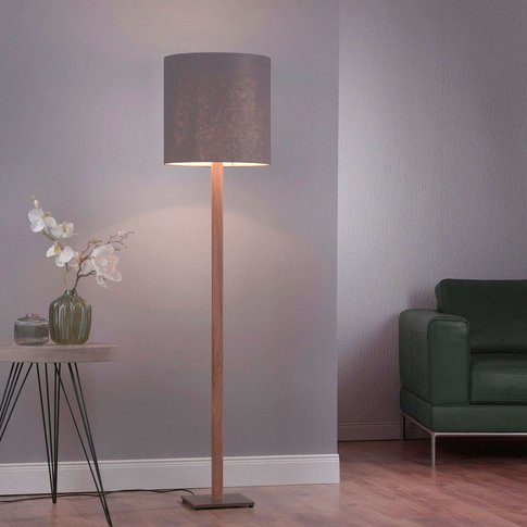 Lucande Elif Floor Lamp Felt Angular Natural Oak
