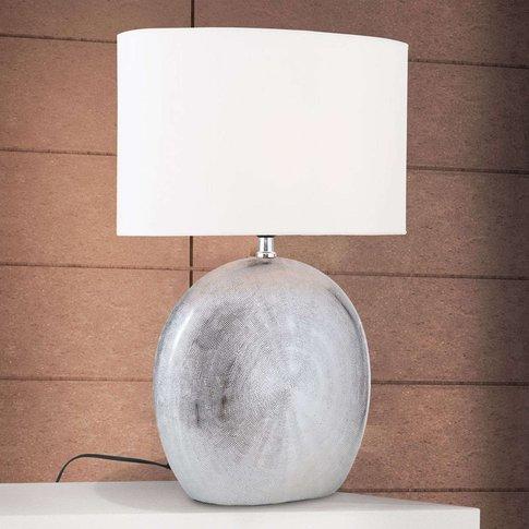 Ethno Ceramic Table Lamp 52 Cm White Titanium Base