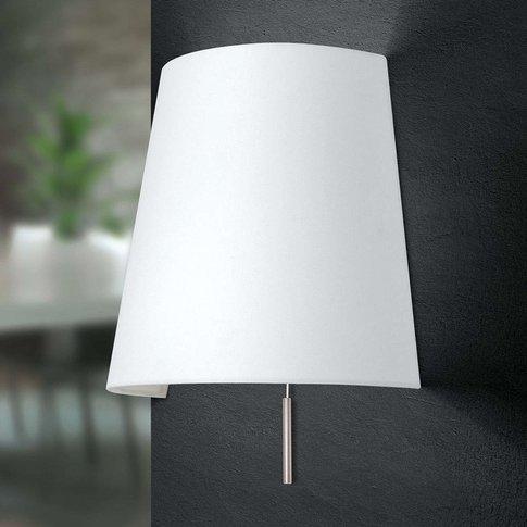 Shade Wall Lamp, Matt Nickel, White Lampshade