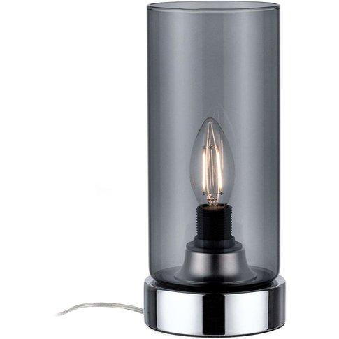 Paulmann Pinja Table Lamp Chrome/Smoky Grey