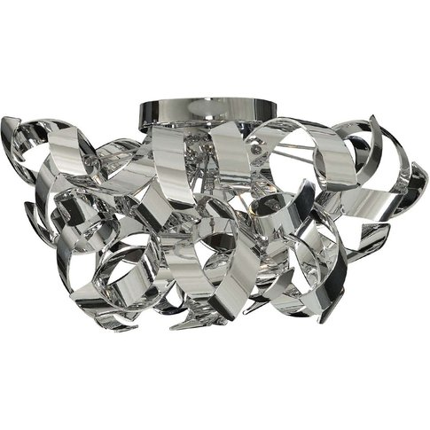 Chrome-Coloured Curls Ceiling Lamp, Curly Design