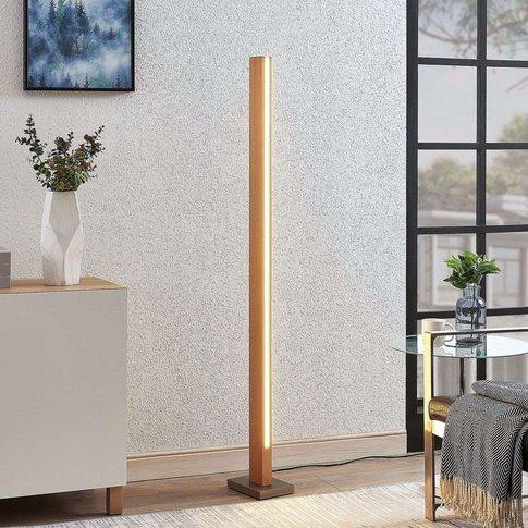 Tamlin Led Wooden Floor Lamp, Beech-Coloured