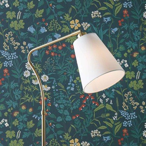 Modern Tindra Fabric Floor Lamp With Flex Arm
