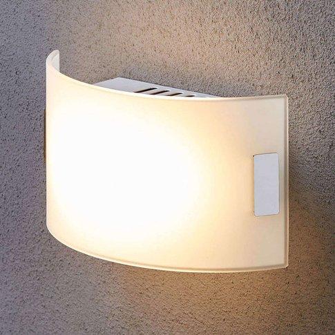 White Glass Wall Light Gisela With Led Bulbs