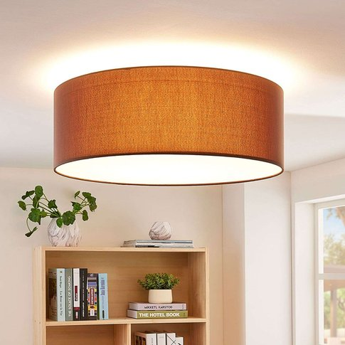 Brown Fabric Led Ceiling Light Dora, Dimmable