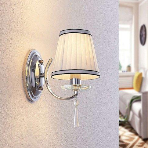 Lindby Haldir Wall Light+Fabric Lampshade, Chrome